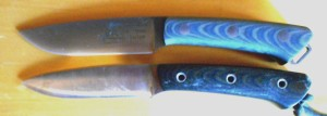 A brand new BRK Fox River (top) and Marty's 9 year old plus BRK Fox River. Scratches don't lie. Marty's knife is a user.