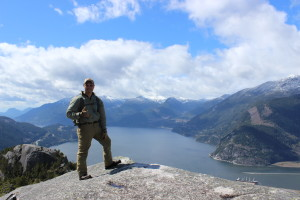 Kevin Estela hiking in Squamish Valley